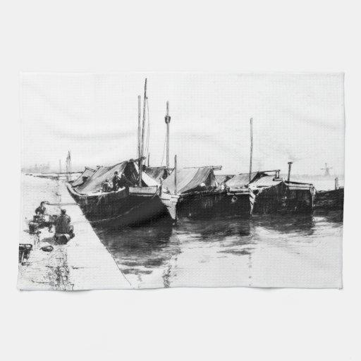 Barcos holandeses 1888 del mercado toalla