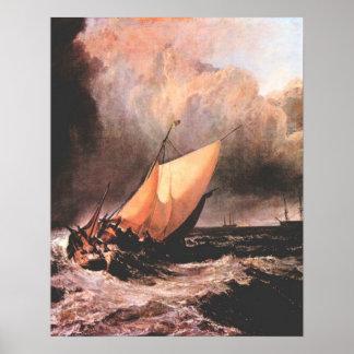 Barcos holandeses en un chubasco de José Mallord T Póster