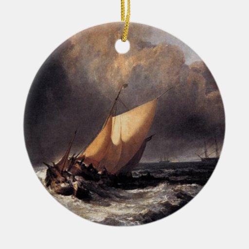 Barcos holandeses en un vendaval adorno navideño redondo de cerámica