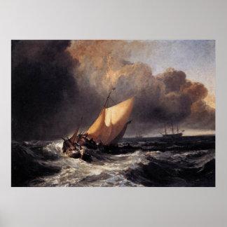 Barcos holandeses en un vendaval póster