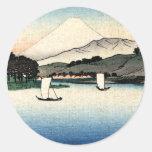 Barcos japoneses del campo y de pesca pegatina redonda