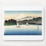 Barcos japoneses del campo y de pesca tapete de ratón