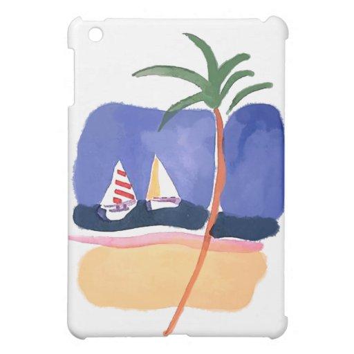 Barcos, palma y playa de la acuarela