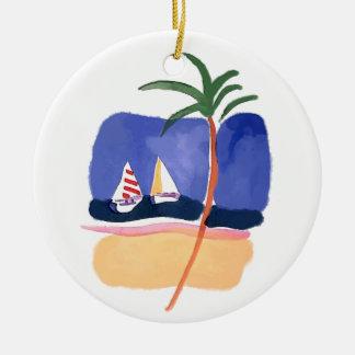 Barcos, palma y playa de la acuarela adornos de navidad