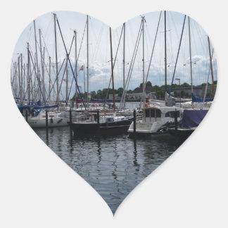 ¡Barcos! Pegatina En Forma De Corazón