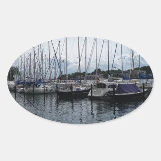 ¡Barcos! Pegatina Ovalada