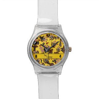 Barcos piratas amarillos conocidos personalizados relojes