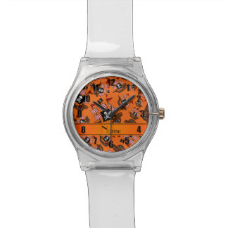 Barcos piratas anaranjados conocidos relojes de pulsera