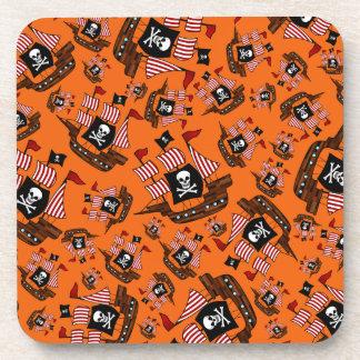 Barcos piratas anaranjados posavaso