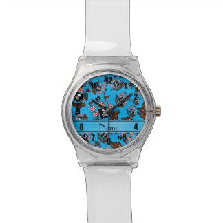 Barcos piratas conocidos personalizados del azul relojes