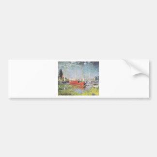 Barcos rojos, Argenteuil, Claude Monet Etiqueta De Parachoque