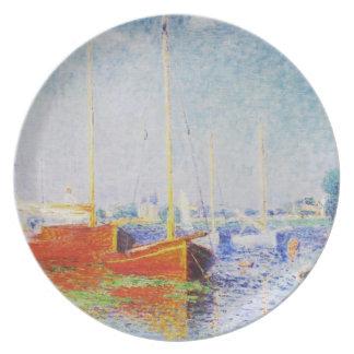 Barcos rojos en Argenteuil de Claude Monet Platos De Comidas