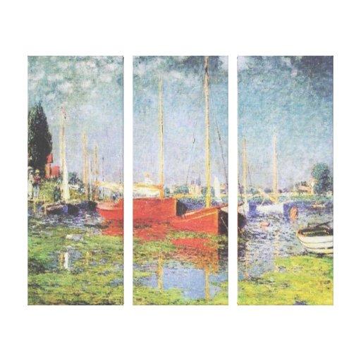 Barcos rojos en la impresión de la lona de Argente Impresiones En Lienzo Estiradas