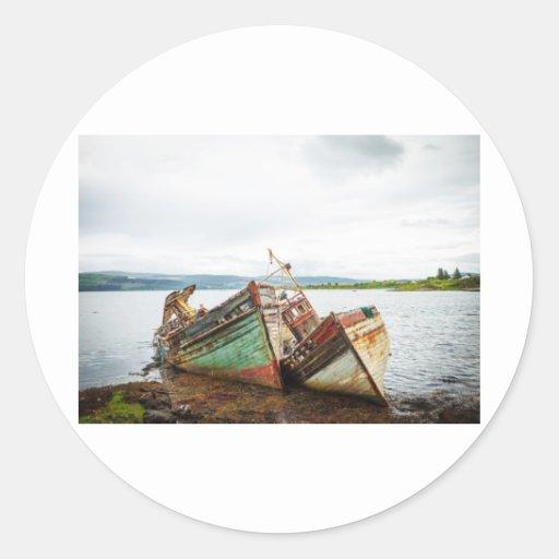Barcos viejos pegatina redonda