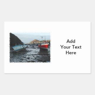 Barcos. Watermouth, Devon, Reino Unido Rectangular Pegatinas