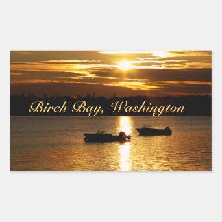 Barcos y cielo ardiente rectangular pegatina