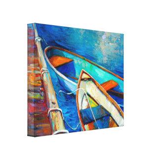 Barcos y embarcadero lienzo envuelto para galerías