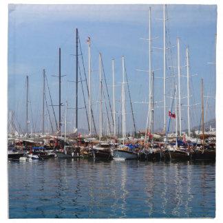 Barcos y yates en el puerto marítimo en Bodrum Servilleta De Papel