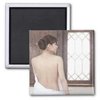 Bare Back of Young Woman 2 Inch Square Magnet