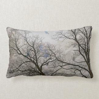 Bare Branches of Winter Trees Nature Art Lumbar Pillow