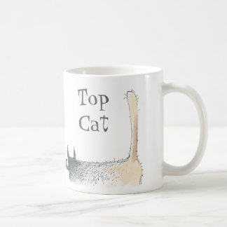 bare butt cat with moustache classic white coffee mug