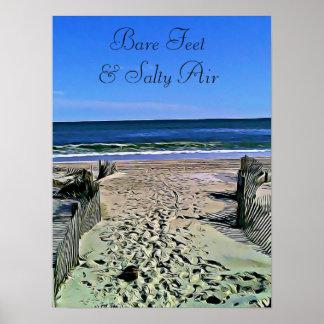 Bare Feet & Salty Air Ocean Photo Poster