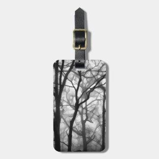 Bare Foggy Trees Illustration Luggage Tag