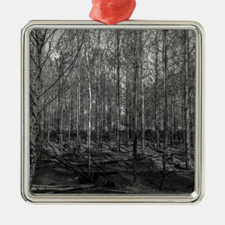 bare forestry metal ornament