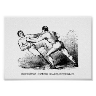 Bare Knuckle Boxing Illustration Victorian Poster