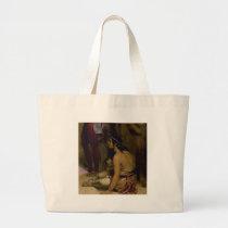 bare shoulder woman on floor large tote bag