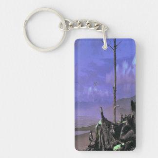 Bare Tree and Driftwood on a Coastal Shoreline Rectangular Acrylic Key Chain