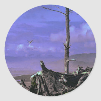 Bare Tree and Driftwood on a Coastal Shoreline Classic Round Sticker