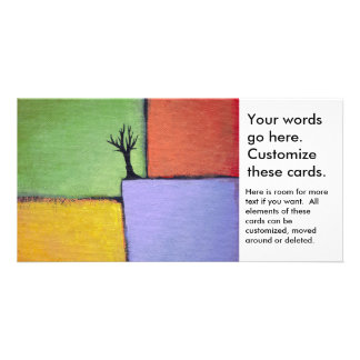 Bare tree colorful art all seasons modern painting card
