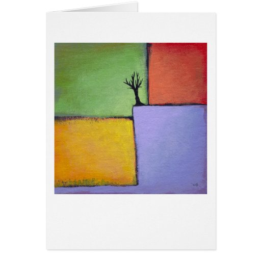Bare tree colorful art all seasons modern painting greeting card