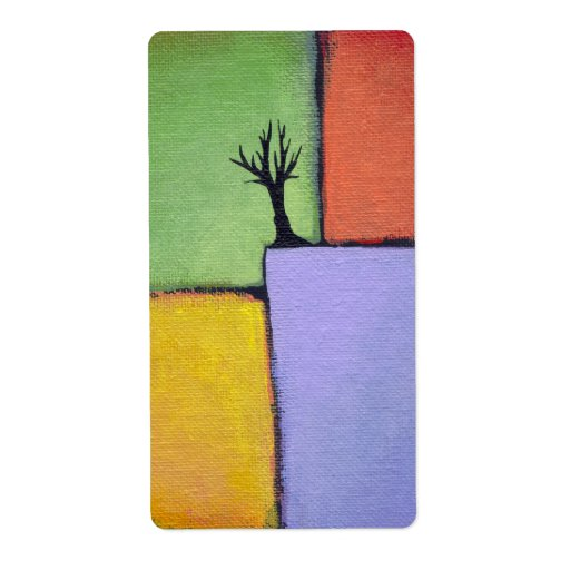 Bare tree colorful art all seasons modern painting label