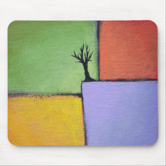 Bare tree colorful art all seasons modern painting mouse pad