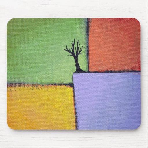 Bare tree colorful art all seasons modern painting mousepad