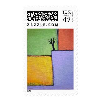 Bare tree colorful art all seasons modern painting postage