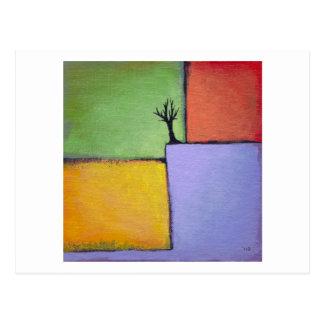 Bare tree colorful art all seasons modern painting postcard