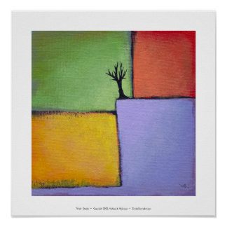 Bare tree colorful art all seasons modern painting poster