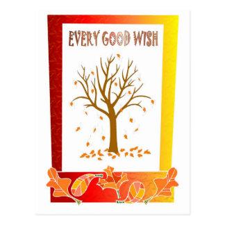 Bare tree, fallen leaves postcard