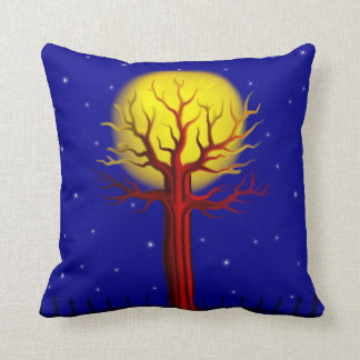Bare Tree in the Moon Light Throw Pillow