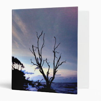 Bare Tree On Shore At Sunset 3 Ring Binder