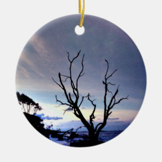 Bare Tree On Shore At Sunset Christmas Ornaments