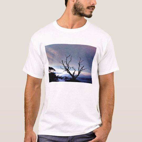 Bare Tree On Shore At Sunset T-Shirt