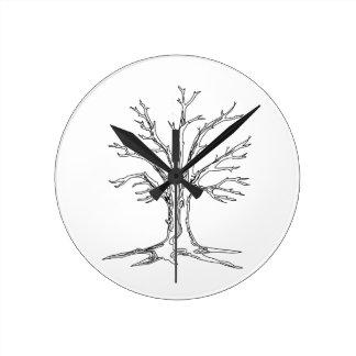 Bare Tree Round Clock