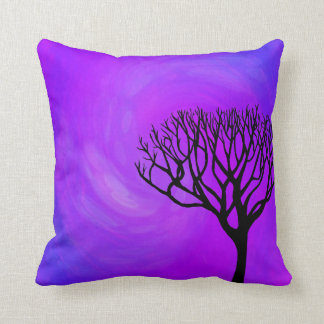 Bare Tree Silhouette (Northern Lights) Throw Pillow