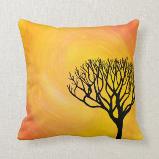 Bare Tree Silhouette (Orange Sunburst) Throw Pillow