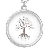 Bare tree silver plated necklace