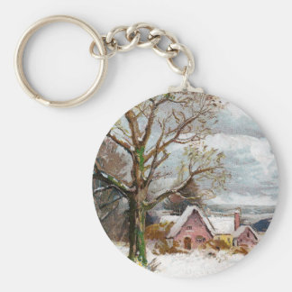 Bare Trees and Stormy Skies Vintage Christmas Keychain